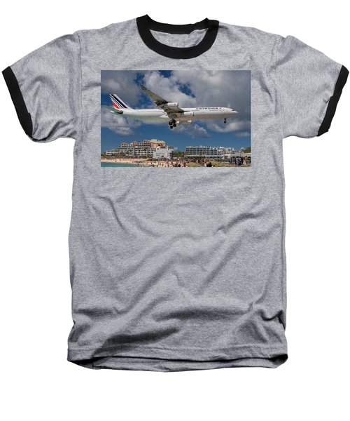 Air France Landing At St. Maarten Baseball T-Shirt by David Gleeson