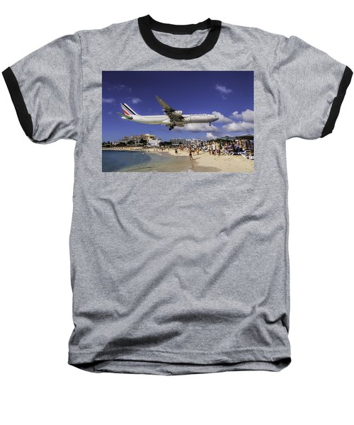 Air France St. Maarten Landing Baseball T-Shirt by David Gleeson