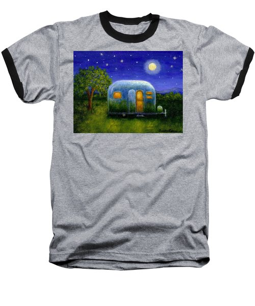 Baseball T-Shirt featuring the painting Airstream Camper Under The Stars by Sandra Estes