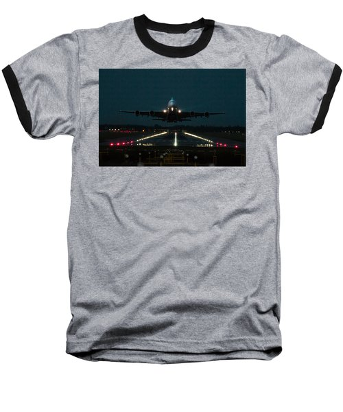 Airbus A380 Take-off At Dusk Baseball T-Shirt by Tim Beach