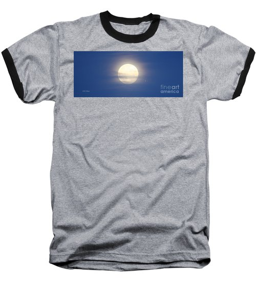 Airplane Flying Into Full Moon Baseball T-Shirt