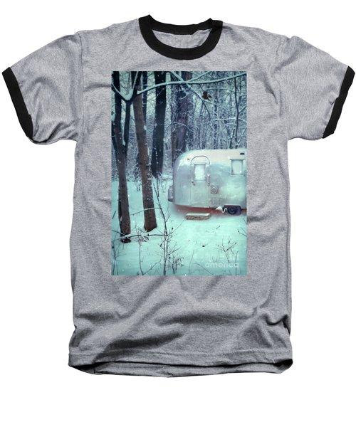 Airstream Trailer In Snowy Woods Baseball T-Shirt