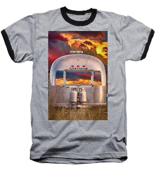 Airstream Travel Trailer Camping Sunset Window View Baseball T-Shirt