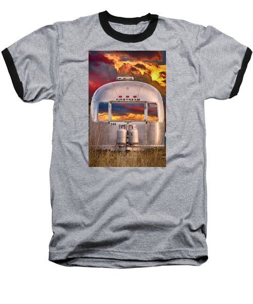 Airstream Travel Trailer Camping Sunset Window View Baseball T-Shirt