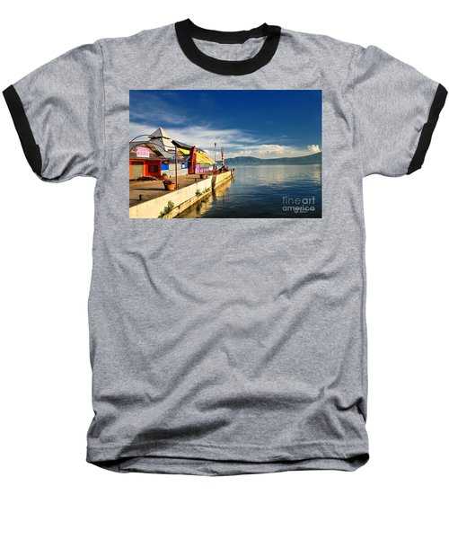 Baseball T-Shirt featuring the photograph Ajijic Pier - Lake Chapala - Mexico by David Perry Lawrence
