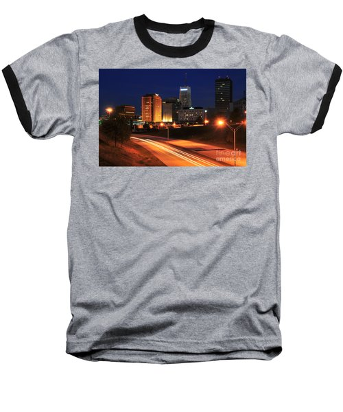 D1u-140 Akron Ohio Night Skyline Photo Baseball T-Shirt