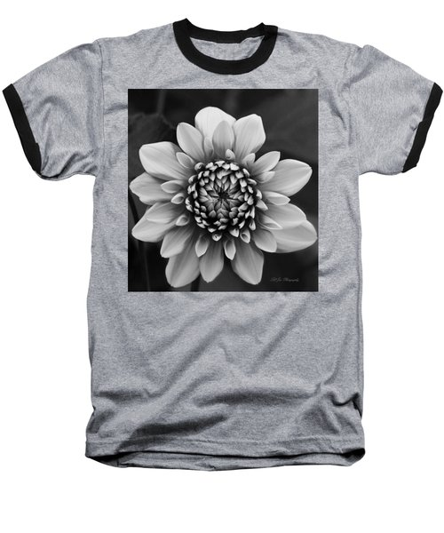 Ala Mode Dahlia In Black And White Baseball T-Shirt