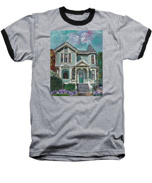 Baseball T-Shirt featuring the mixed media Alameda 1897 - Queen Anne by Linda Weinstock