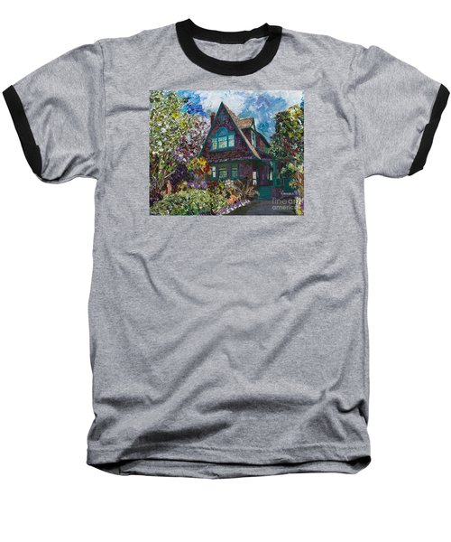 Baseball T-Shirt featuring the painting Alameda 1907 Traditional Pitched Gable - Colonial Revival by Linda Weinstock