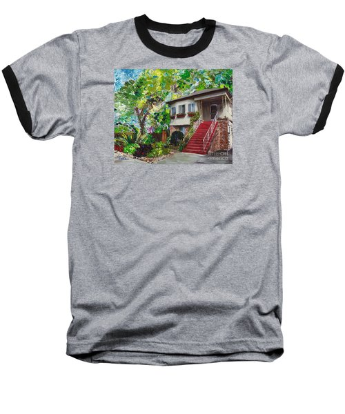 Baseball T-Shirt featuring the painting Alameda 1908 Duplex by Linda Weinstock