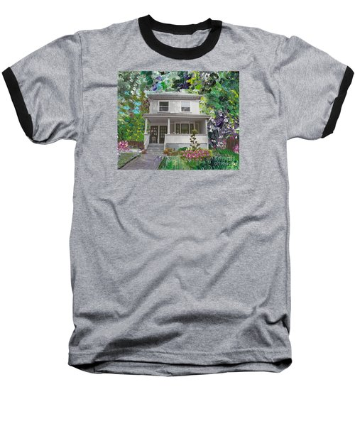 Baseball T-Shirt featuring the painting Alameda 1933 Duplex - American Foursquare  by Linda Weinstock