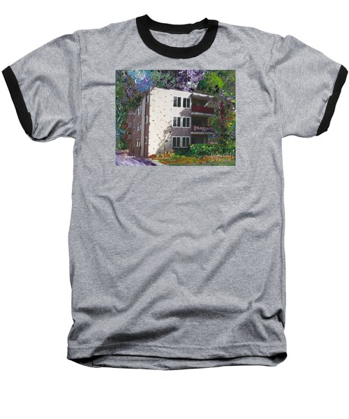 Baseball T-Shirt featuring the painting Alameda 1964 Apartment Architecture   by Linda Weinstock