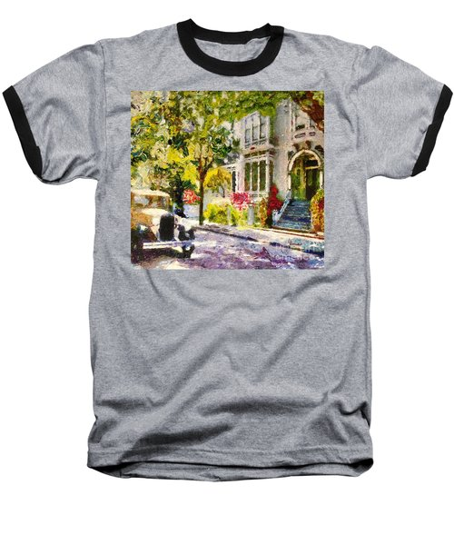 Baseball T-Shirt featuring the painting Alameda  Afternoon Drive by Linda Weinstock