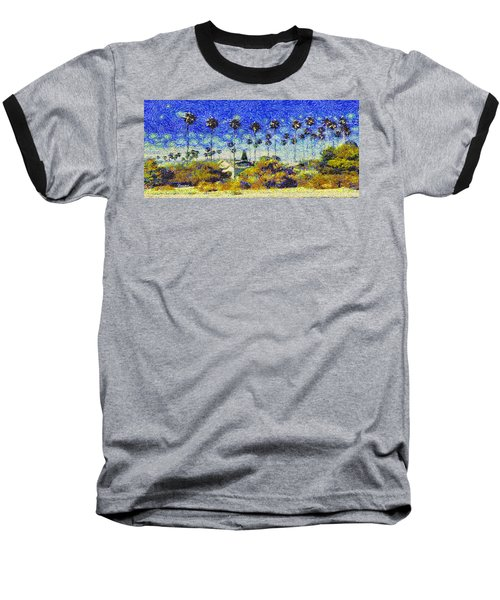 Baseball T-Shirt featuring the painting Alameda Famous Burbank Palm Trees by Linda Weinstock