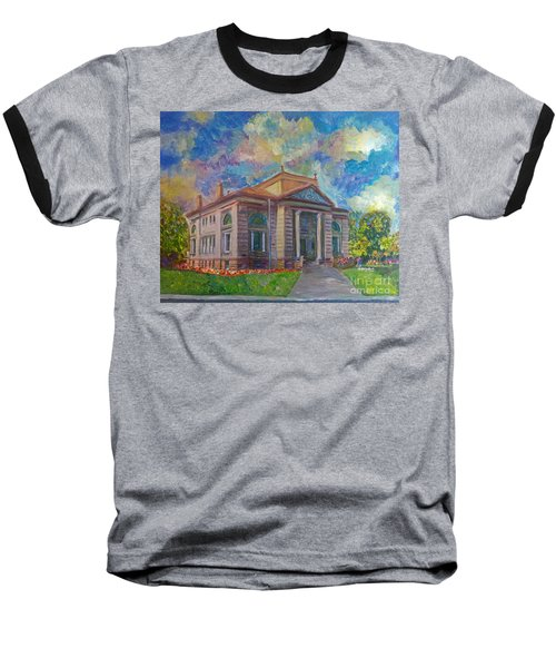 Baseball T-Shirt featuring the mixed media Alameda Carnegie Library 1899 by Linda Weinstock