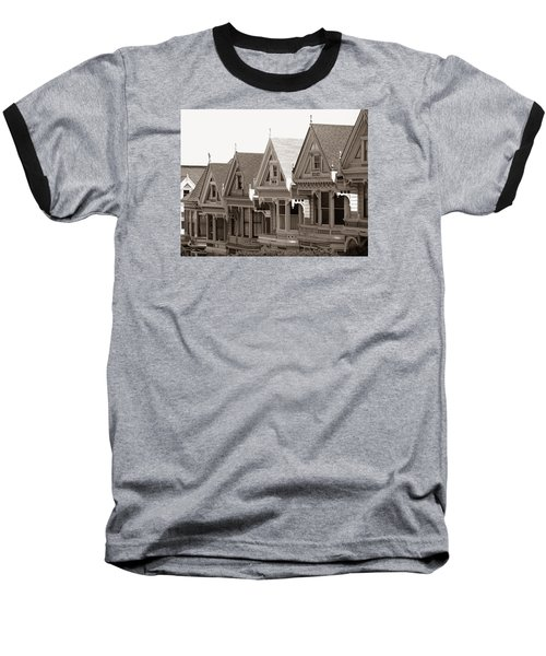 Alamo Square - Victorian Painted Ladies 2009 Baseball T-Shirt by Connie Fox