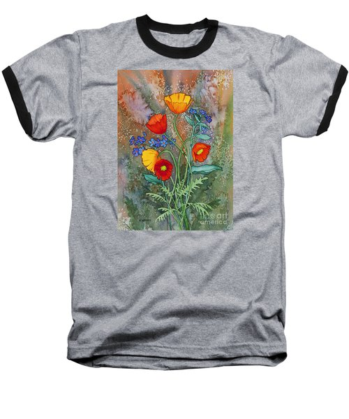 Alaska Poppies And Forgetmenots Baseball T-Shirt