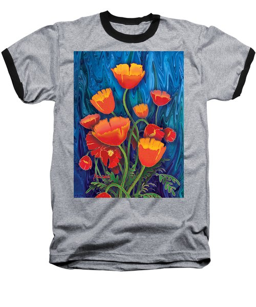 Baseball T-Shirt featuring the mixed media Alaska Poppies by Teresa Ascone