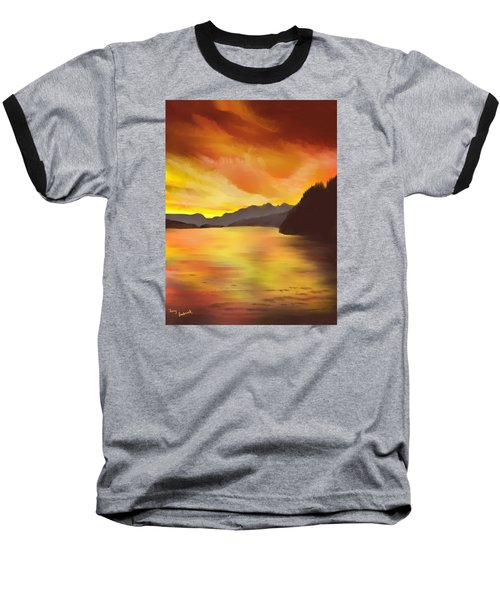 Baseball T-Shirt featuring the painting Alaska Sunset by Terry Frederick