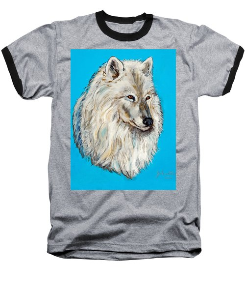 Baseball T-Shirt featuring the painting Alaska White Wolf by Bob and Nadine Johnston