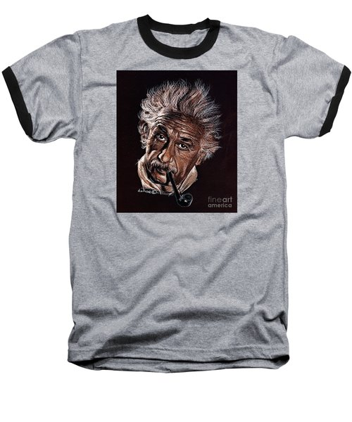 Albert Einstein Portrait Baseball T-Shirt