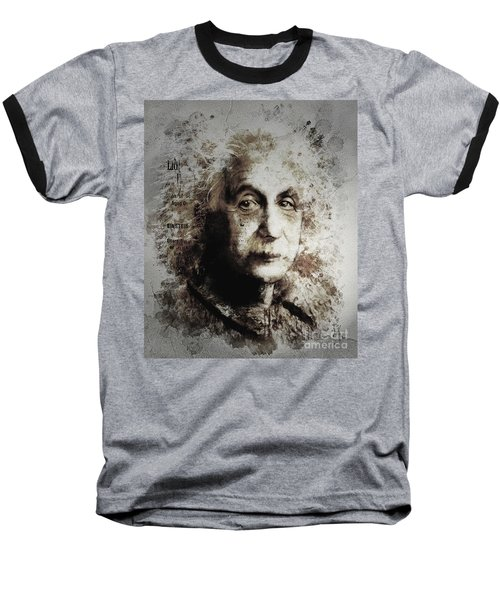 Baseball T-Shirt featuring the painting Albert Einstein by Shanina Conway