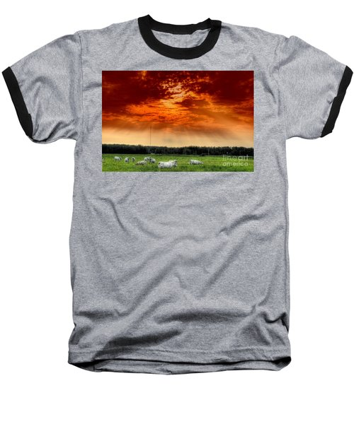 Baseball T-Shirt featuring the photograph Alberta Canada Cattle Herd Hdr Sky Clouds Forest by Paul Fearn