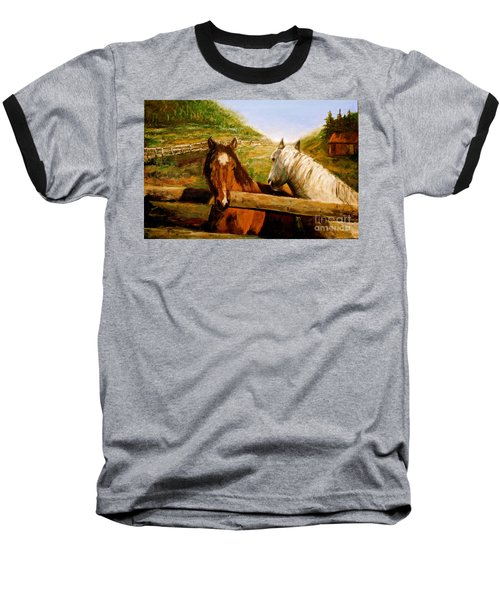 Baseball T-Shirt featuring the painting Alberta Horse Farm by Sher Nasser