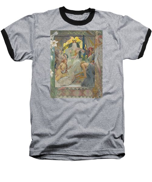 Baseball T-Shirt featuring the painting Arabian Nights By Andre Castaigne by Antique Art