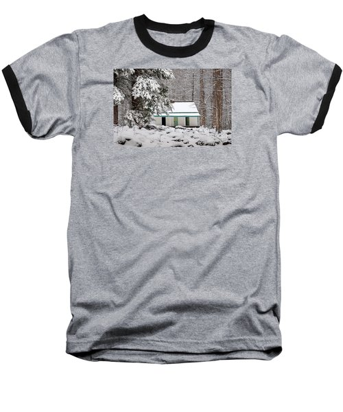 Baseball T-Shirt featuring the photograph Alfred Reagan's Home In Snow by Debbie Green