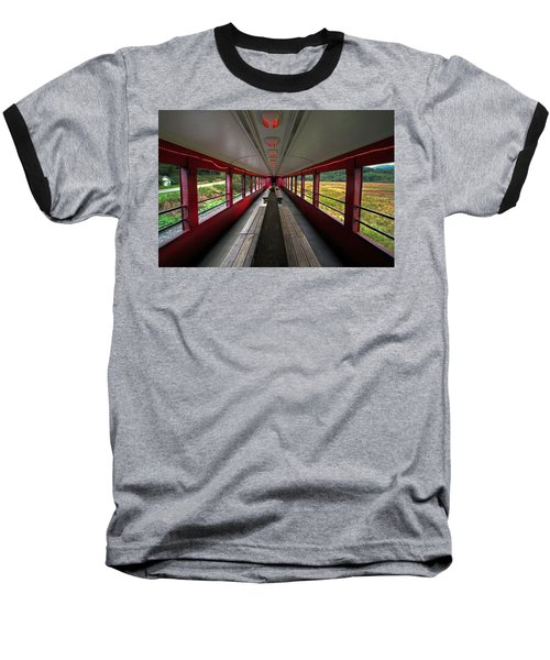 Baseball T-Shirt featuring the photograph All Aboard Tioga Central Railroad by Suzanne Stout
