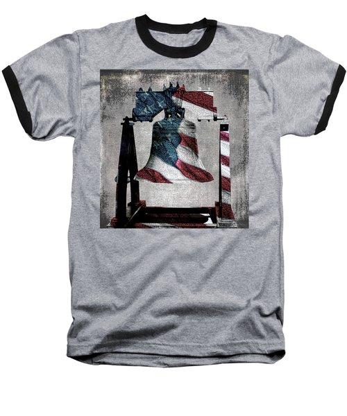 All American Liberty Bell Art_denim Baseball T-Shirt by Lesa Fine