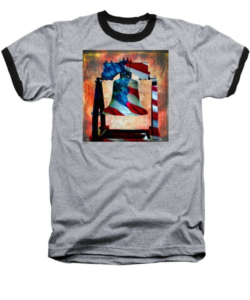 Liberty Bell Art Smooth All American Series Baseball T-Shirt by Lesa Fine