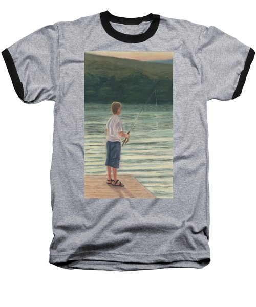Baseball T-Shirt featuring the painting All Day Long by Arlene Crafton