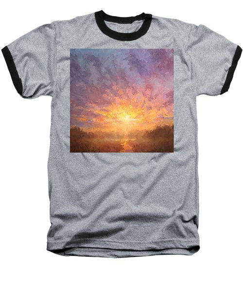 Impressionistic Sunrise Landscape Painting Baseball T-Shirt by Karen Whitworth