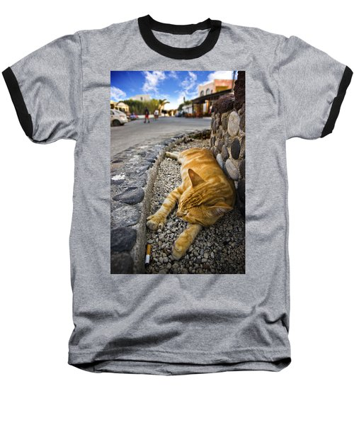 Baseball T-Shirt featuring the photograph Alley Cat Siesta by Meirion Matthias
