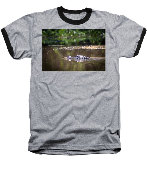 Alligator Swimming In Bayou 1 Baseball T-Shirt