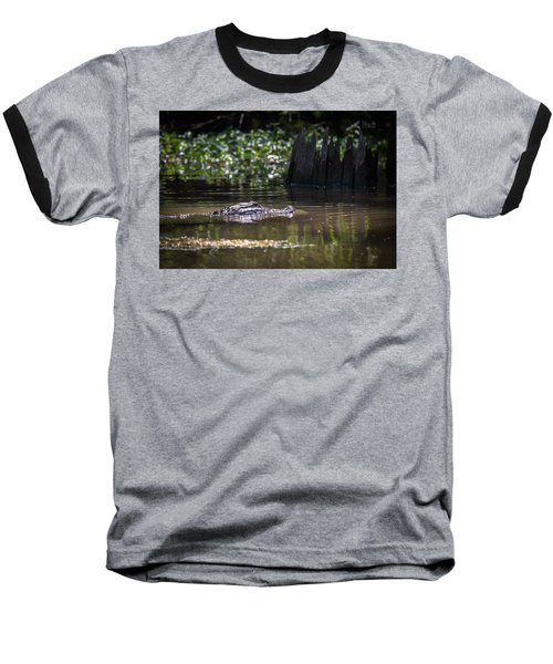 Alligator Swimming In Bayou 2 Baseball T-Shirt