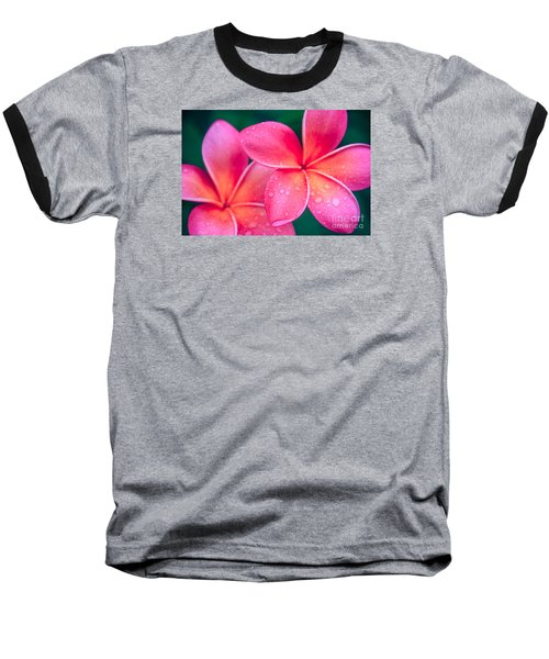 Aloha Hawaii Kalama O Nei Pink Tropical Plumeria Baseball T-Shirt by Sharon Mau