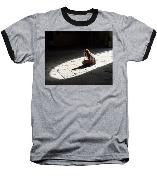 Baseball T-Shirt featuring the photograph Alone In A Pool Of Light by Alex Lapidus