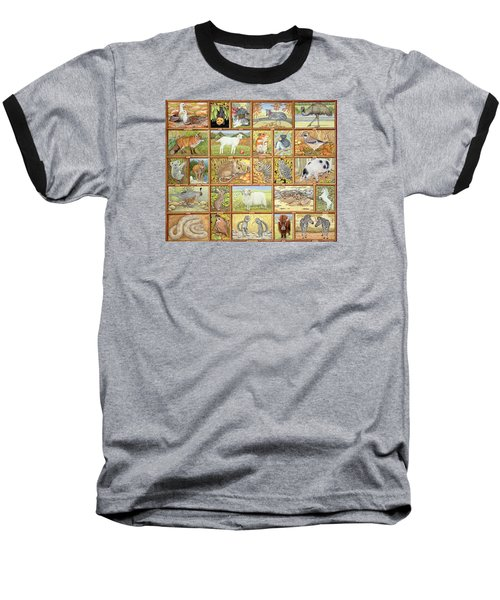 Alphabetical Animals Baseball T-Shirt by Ditz