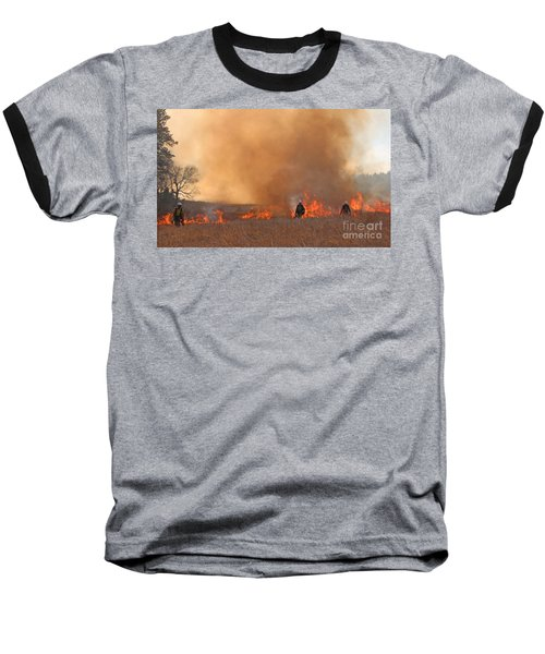 Alpine Hotshots Ignite The Norbeck Prescribed Fire. Baseball T-Shirt