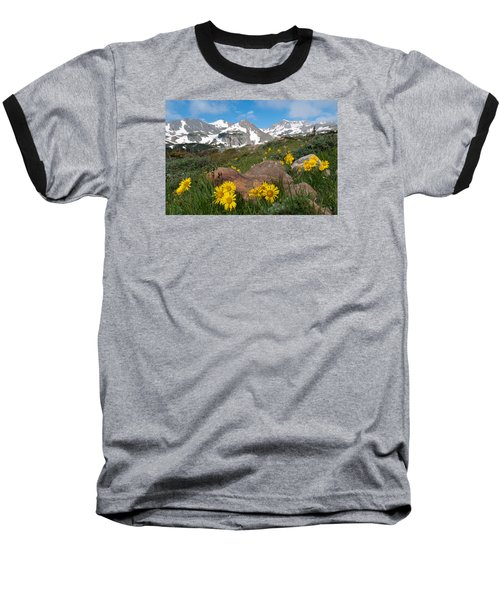 Alpine Sunflower Mountain Landscape Baseball T-Shirt