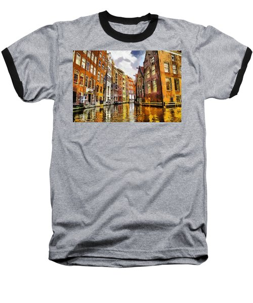 Baseball T-Shirt featuring the painting Amasterdam Houses In The Water by Georgi Dimitrov