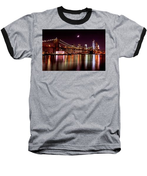 Amazing New York Skyline And Brooklyn Bridge With Moon Rising Baseball T-Shirt