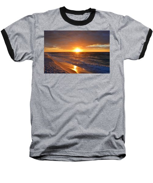 Amazing Sunrise Colors And Waves On Navarre Beach Baseball T-Shirt by Jeff at JSJ Photography