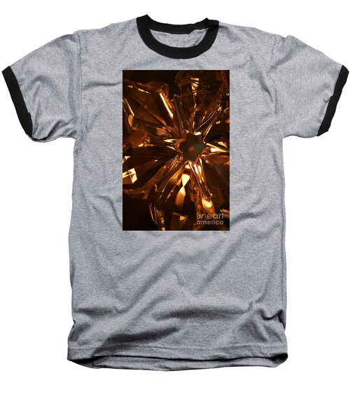 Baseball T-Shirt featuring the photograph Amber Crystal Snowflake by Linda Shafer