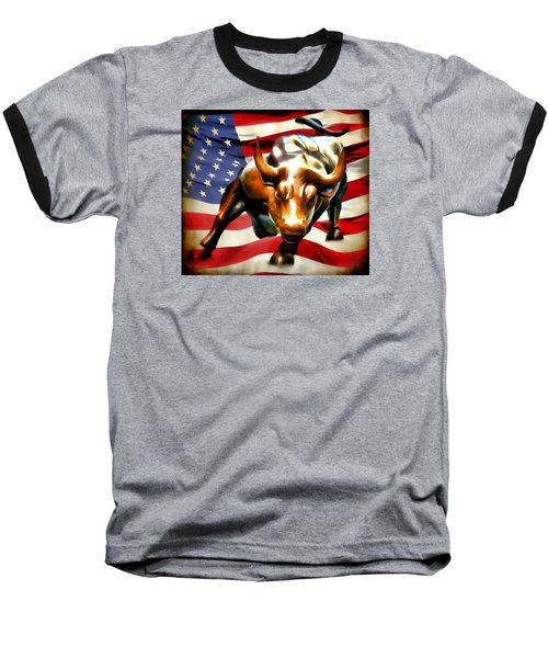 America Taking Charge Baseball T-Shirt by Athena Mckinzie