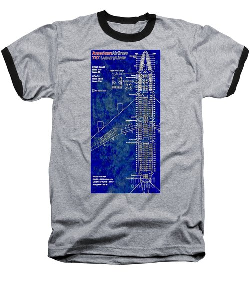 American Airlines 747 Baseball T-Shirt by Daniel Janda