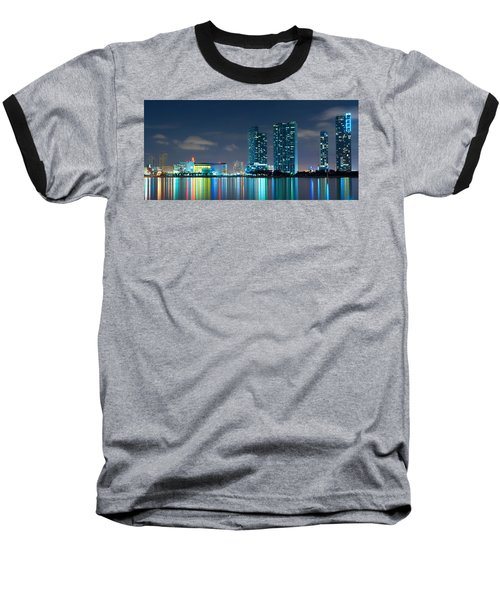 American Airlines Arena And Condominiums Baseball T-Shirt by Carsten Reisinger
